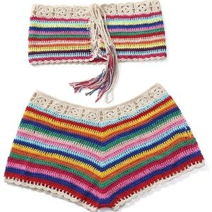 Other - Hand Crochet Rainbow Color Stripe Bikini Short Set